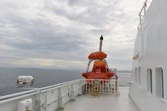 Livräddningsbåt på däcket av en färja i Norge, Europa Fotografering för Bildbyråer