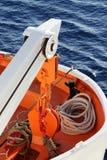 Livräddningsbåt på ett passagerareskepp, sikt av avtryckarekranen Royaltyfria Bilder