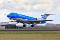 Livrée du Fokker 70 de KLM nouvelle Photos libres de droits