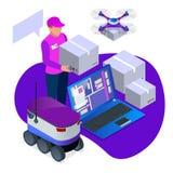 Livraison à domicile exprès Le messager donne à la femme une boîte Achat en ligne Expédition gratuite, les 24 livraisons d'heure  Illustration de Vecteur