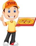 Livraison de la pizza maniez maladroitement du jeune livreur gai tenant une boîte à pizza tandis que d'isolement sur le fond blan illustration de vecteur