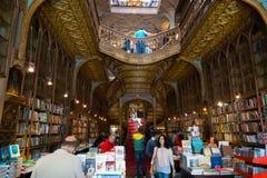 Livraria Lello. PORTO, PORTUGAL - JUNE, 12: People visit famous bookstore Livraria Lello on June 12, 2015 in Porto, Portugal Stock Photography