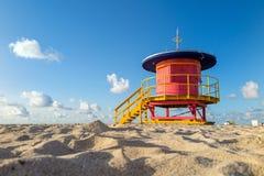 Livräddare Tower i den södra stranden, Miami Beach, Florida Royaltyfria Foton