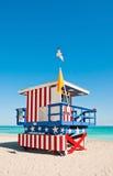 Livräddaren står hög i Miami Beach, USA Arkivbilder