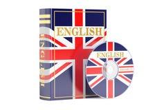 Livre anglais avec le drapeau du disque BRITANNIQUE et CD, rendu 3D illustration libre de droits