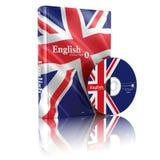 Livre anglais en couverture et CD de drapeau national Photos stock