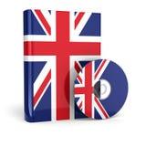 Livre anglais en couverture et CD de drapeau national illustration stock