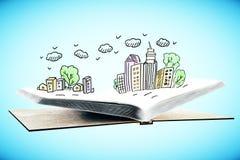 Livre avec le croquis de ville illustration libre de droits