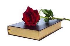 Livre avec une rose Images stock