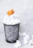 Livre blanc dans la poubelle Photos libres de droits