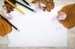 Livre blanc vide sur la table en bois avec des crayons de couleur et des feuilles d'automne Photos libres de droits