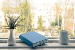 Livre bleu avec des repères Photo stock