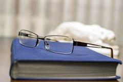 Livre bleu et verres Photographie stock libre de droits