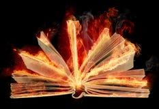 Livre brûlant avec les feuilles flamming de rose des vents Photos libres de droits