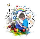 Livre d'éducation de lecture de garçon sur le blanc Images stock