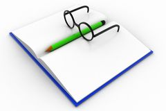 livre 3d avec le verre et le crayon Photo libre de droits
