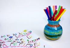 Livre d'exercice et support de crayon lecteur Photos stock