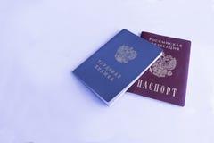 Livre d'histoire d'emploi et passeport de Fédération de Russie photographie stock