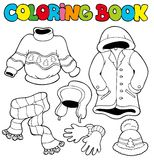 Livre de coloration avec des vêtements de l'hiver Images stock