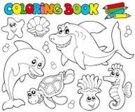 Livre de coloration avec les animaux marins 2 Photographie stock