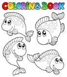 Livre de coloration avec quatre poissons Photographie stock libre de droits