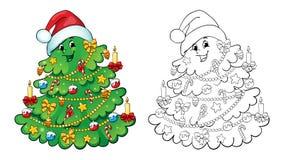 Livre de coloration Concept de carte d'arbre de Noël Photo stock