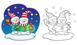 Livre de coloration Concept de carte de vecteur - bonhomme de neige mignon Photo libre de droits