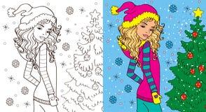 Livre de coloration de fille en hiver illustration de vecteur