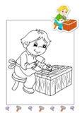 Livre de coloration des travaux 11 - charpentier Photo stock