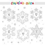 Livre de coloration Ensemble de flocons de neige de bande dessinée pour des enfants Image stock