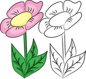 Livre de coloration Fleur de bande dessinée Photos libres de droits