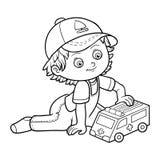 Livre de coloration Jeux de petit garçon avec la voiture d'ambulance Images libres de droits