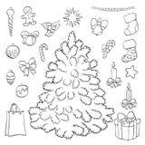 Livre de coloration les décorations de Noël de fond ont isolé le blanc d'arbre Photographie stock