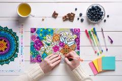 Livre de coloriage adulte de coloration femelle, concept de mindfulness photographie stock libre de droits