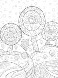 Livre de coloriage adulte, paginent une image abstraite florale de paysage pour la détente Illustration de style d'art de zen illustration libre de droits