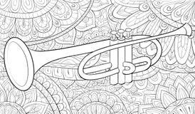Livre de coloriage adulte, paginent une image de trompette pour la détente Illustration de style d'art de zen illustration libre de droits