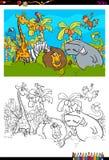 Livre de coloriage animal de caractères de safari de bande dessinée Images stock