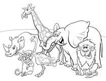 Livre de coloriage animal de caractères de safari de bande dessinée Photos stock