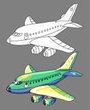Livre de coloriage avec l'avion Photos stock