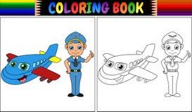 Livre de coloriage avec l'enfant et l'avion pilotes Images stock