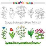 Livre de coloriage avec l'ensemble de fleur Illustration de vecteur Image stock