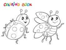 Livre de coloriage avec la coccinelle Illustration de vecteur D'isolement sur le blanc Images stock