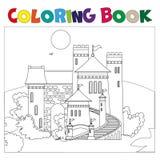 Livre de coloriage avec le château illustration stock