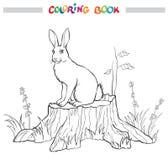 Livre de coloriage avec le lapin sur le tronçon, la fleur et l'herbe Photos libres de droits