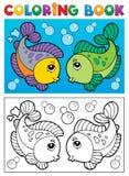 Livre de coloriage avec le thème 2 de poissons Images libres de droits
