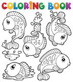 Livre de coloriage avec le thème 1 de poissons Photographie stock
