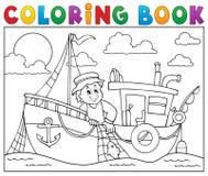 Livre de coloriage avec le thème 1 de bateau de pêche Photo libre de droits