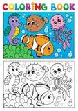Livre de coloriage avec les animaux marins 4 Photos libres de droits
