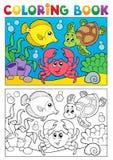 Livre de coloriage avec les animaux marins 5 Photo libre de droits