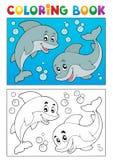 Livre de coloriage avec les animaux marins 7 Images libres de droits